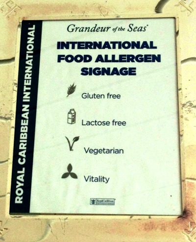 Food-Allergy-Sign-Royal-Caribbean - Experiencia en un crucero
